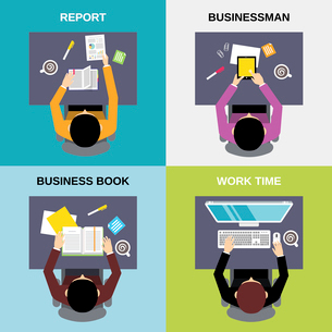 Top view businessman business book report work time flat set isolated  vector illustrationのイラスト素材 [FYI03067423]