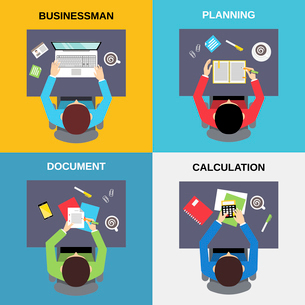 Top view businessman planning document calculation flat set isolated  vector illustration.のイラスト素材 [FYI03067424]