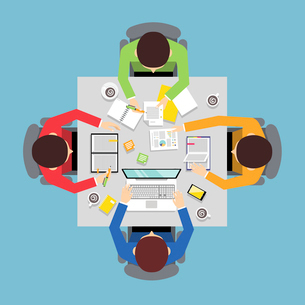 Business team meeting teamwork concept top view group people on squared table vector illustration.のイラスト素材 [FYI03067427]