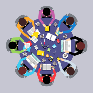 Business team brainstorming teamwork concept top view group people on round table vector illustratioのイラスト素材 [FYI03067429]