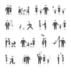 Family figures black icons set of men women dating wedding parenting isolated vector illustrationのイラスト素材 [FYI03067432]