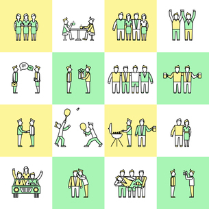 Friends and friendly relationship flat line icons set with people chatting present party isolated veのイラスト素材 [FYI03067433]