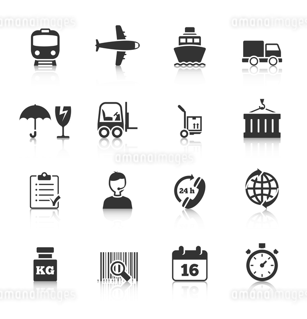 Logistic symbols of packing loading worldwide cargo transportation delivery service black icons setのイラスト素材 [FYI03067435]