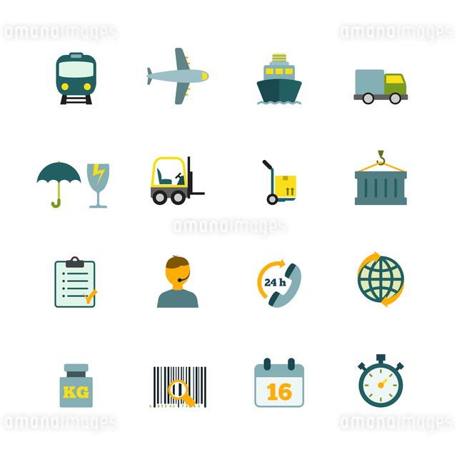 International coordination logistics  24hours worldwide container delivery service flat icons internのイラスト素材 [FYI03067436]