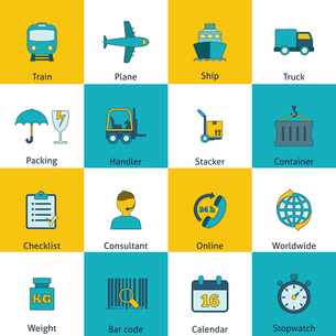Global freight railway transportation logistics flat icons set with train container delivery operatoのイラスト素材 [FYI03067437]