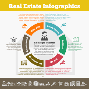 Real estate inforgaphic set with property icons and pie chart vector illustrationのイラスト素材 [FYI03067438]