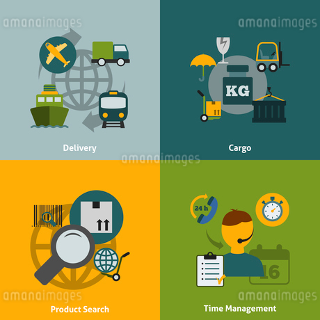 Global logistics transportation coordination concept flat icons composition poster with train truckのイラスト素材 [FYI03067439]