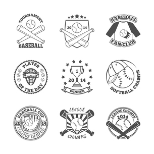 Baseball college league softball winners club graphic labels set with pitch glove abstract black isoのイラスト素材 [FYI03067446]