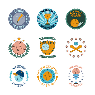Baseball college champs all stars winners club color labels set with champions trophy abstract  isolのイラスト素材 [FYI03067448]