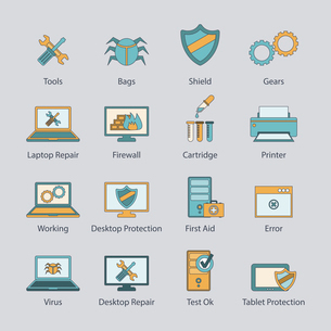 Computer repair and virus malware removal network protection service flat line icons collection abstのイラスト素材 [FYI03067452]