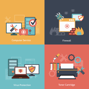 Computer repair and  antivirus protection software installation service flat icons infographics withのイラスト素材 [FYI03067453]