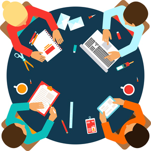 Business men team office meeting concept top view people on table vector illustrationのイラスト素材 [FYI03067459]