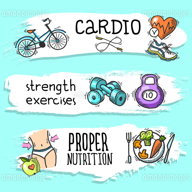 Fitness cardio strength exercises proper nutrition colored sketch horizontal banner set isolated vecのイラスト素材 [FYI03067462]
