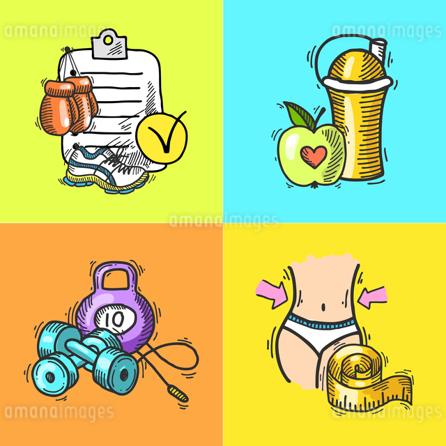 Fitness bodybuilding diet trainer exercise colored hand drawn icons set isolated vector illustrationのイラスト素材 [FYI03067463]
