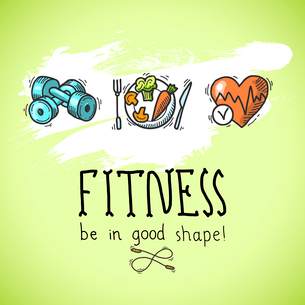 Fitness diet training sport exercise be in good shape colored sketch poster vector illustrationのイラスト素材 [FYI03067465]