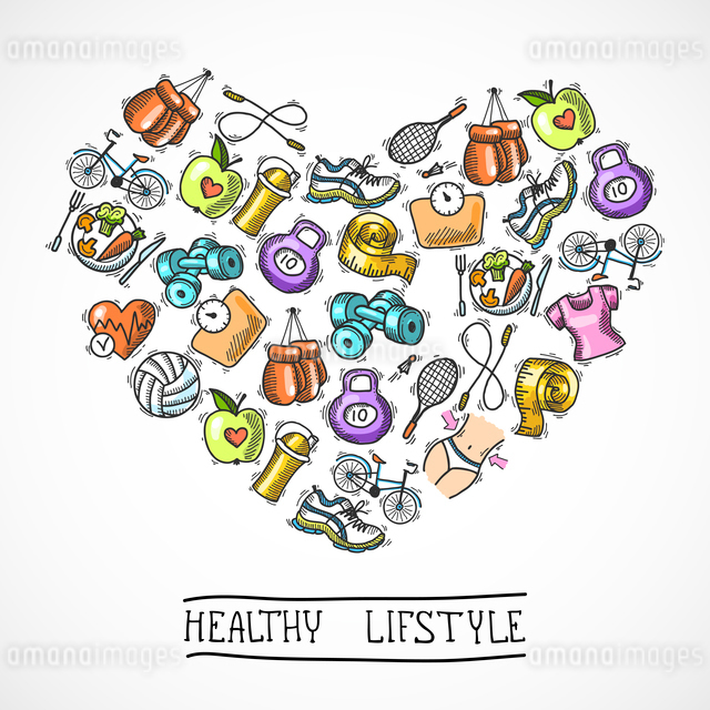Fitness diet training sport exercise healthy lifestyle colored sketch poster vector illustration.のイラスト素材 [FYI03067467]
