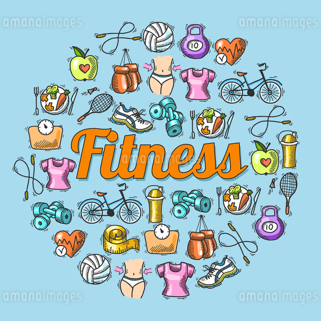 Fitness diet trainer exercise colored sketch hand drawn concept vector illustrationのイラスト素材 [FYI03067468]