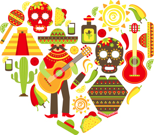Mexico travel traditional symbols decorative icon set in heart shape vector illustrationのイラスト素材 [FYI03067472]