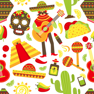 Mexico seamless pattern with travel traditional music latino america symbols vector illustrationのイラスト素材 [FYI03067473]