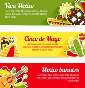 Mexico style culture building travel horizontal banner set isolated vector illustrationのイラスト素材 [FYI03067477]