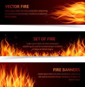 Burning fire campfire hot flame strokes realistic horizontal banner set isolated vector illustrationのイラスト素材 [FYI03067492]