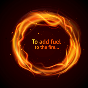 Burning hot flame strokes circle realistic add fuel to the fire background vector illustrationのイラスト素材 [FYI03067493]