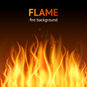 Burning hot flame campfire strokes realistic fire on dark background vector illustrationのイラスト素材 [FYI03067494]