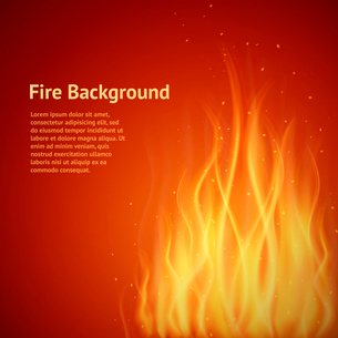 Burning hot flame campfire heat strokes realistic fire on red background vector illustrationのイラスト素材 [FYI03067495]