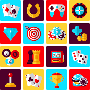 Casino smart and video games icons set with gambling poker roulette isolated vector illustrationのイラスト素材 [FYI03067503]