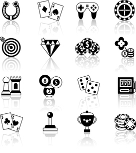 Casino smart and video games black and white icons set with horseshoe chess chips isolated vector ilのイラスト素材 [FYI03067504]