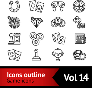 Casino smart and video games outline icons set with target diamond chips isolated vector illustratioのイラスト素材 [FYI03067506]