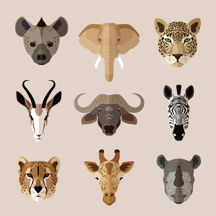 African southern animal portrait flat icons set with hyena elephant jaguar isolated vector illustratのイラスト素材 [FYI03067508]