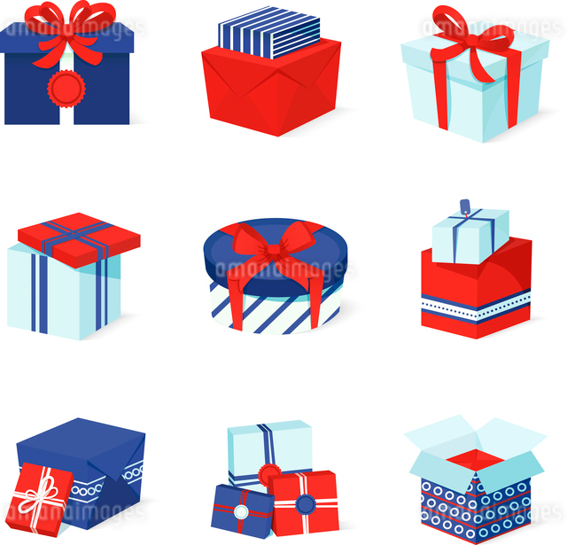 Blue white and red boxes and package gift container icons set isolated vector illustrationのイラスト素材 [FYI03067509]