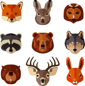 Forest animal portrait flat icons set with fox hare owl isolated vector illustrationのイラスト素材 [FYI03067510]