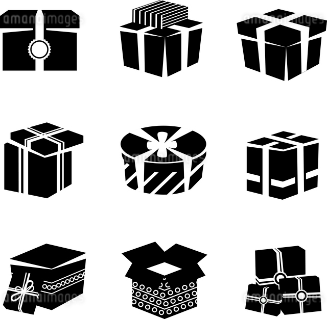 Black and white boxes and package gift container icons set isolated vector illustrationのイラスト素材 [FYI03067511]