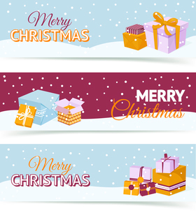 Merry christmas and happy new year horizontal banners set with holiday gift boxes isolated vector ilのイラスト素材 [FYI03067512]