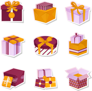Holiday boxes and package gift container paper stickers isolated vector illustrationのイラスト素材 [FYI03067513]