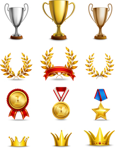 Ranking icons set of different size awards and medals isolated vector illustrationのイラスト素材 [FYI03067514]