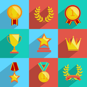 Award icons colored set of trophy medal winner prize champion cup isolated vector illustrationのイラスト素材 [FYI03067515]