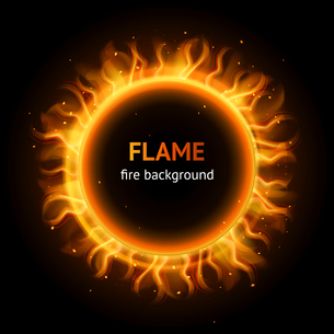Burning hot bonfire inferno flame strokes circle realistic background vector illustrationのイラスト素材 [FYI03067517]