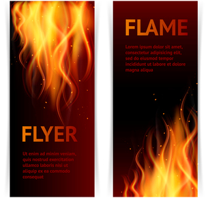 Burning hot flame campfire strokes realistic fire on dark background vertical banners set isolated vのイラスト素材 [FYI03067518]