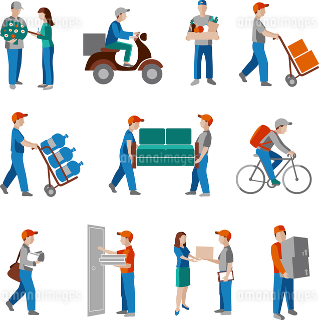 Delivery person freight logistic business industry icons flat set isolated vector illustration.のイラスト素材 [FYI03067523]