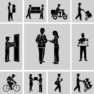 Delivery person courier service postman job icons black set isolated vector illustrationのイラスト素材 [FYI03067525]