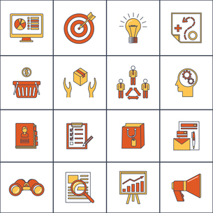 Marketer finance money shopping marketing business search buying flat line icons set isolated vectorのイラスト素材 [FYI03067531]