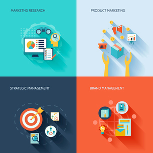 Marketer flat icons set with marketing research product strategic brand management isolated vector iのイラスト素材 [FYI03067535]