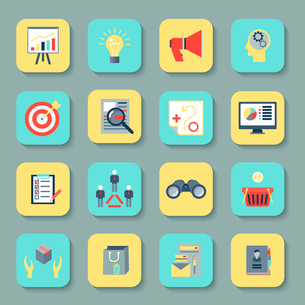 Marketer flat icons set with research product marketing brand advertising isolated vector illustratiのイラスト素材 [FYI03067536]