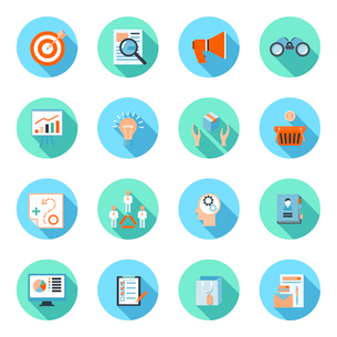 Marketer flat icons set with advertising effectiveness brand analytics product marketing isolated veのイラスト素材 [FYI03067538]