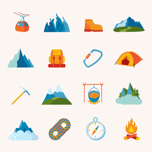 Mountain hiking climbing skiing equipment icons flat set isolated vector illustrationのイラスト素材 [FYI03067548]