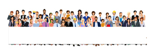 Large group crowd of people adult professionals paper horizontal banner vector illustrationのイラスト素材 [FYI03067549]