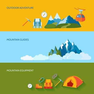 Mountains camping banners set with outdoor adventure guides equipment isolated vector illustrationのイラスト素材 [FYI03067550]